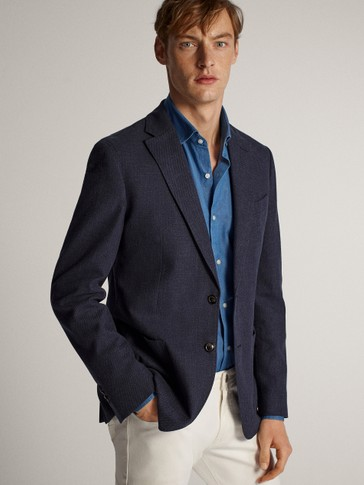 SLIM FIT NAVY MELANGE COTTON BLAZER