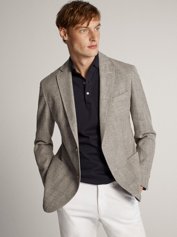 SLIM FIT MELANGE COTTON BLAZER