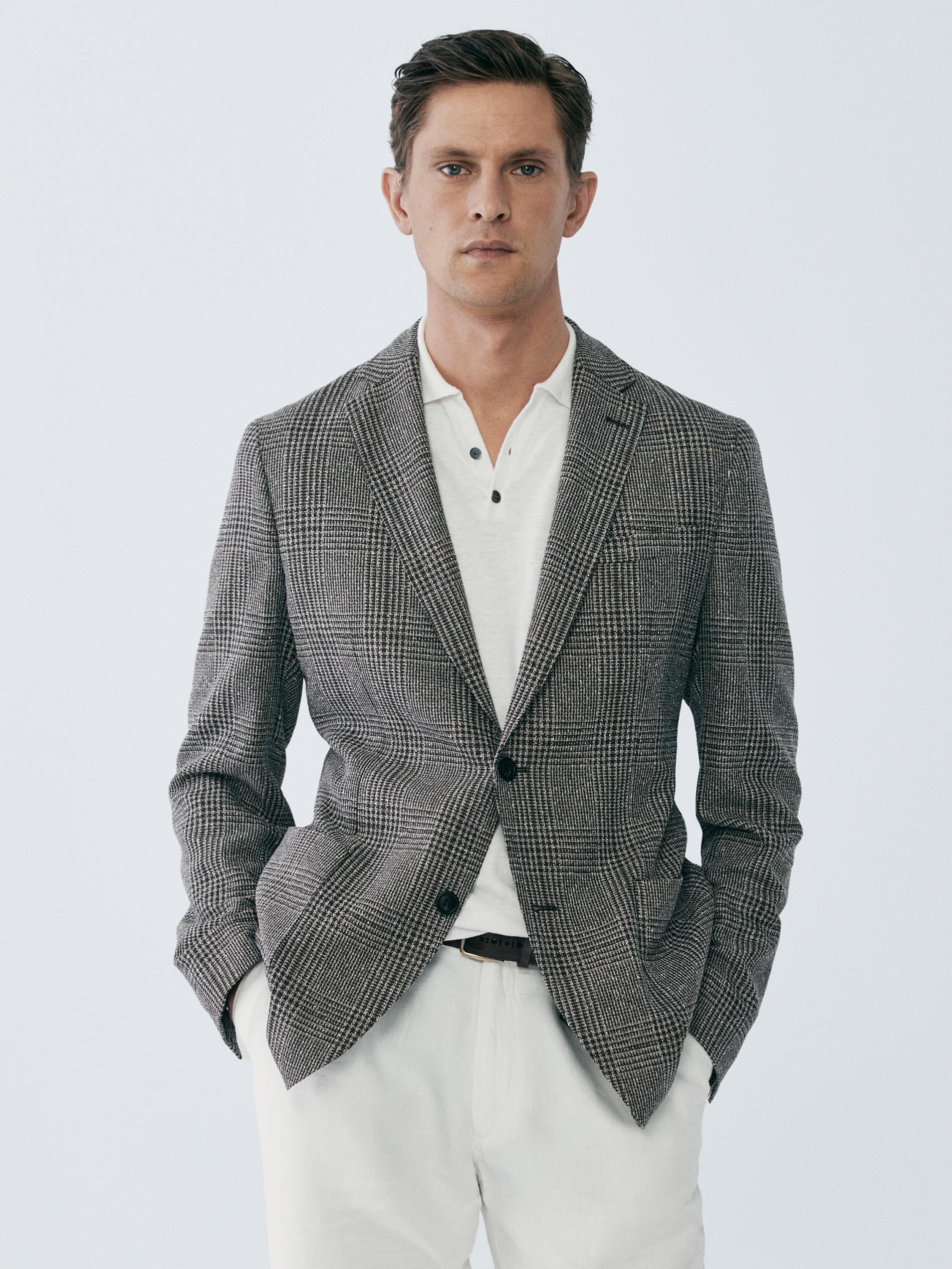 NestYu Mens Notch Lapel Patch Slim Fit Suit Coat Jacket Blazer Outwear