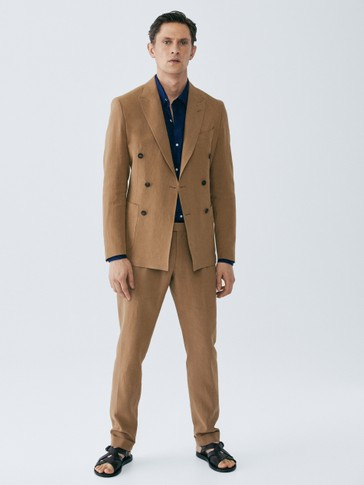 LIMITED EDITION SLIM FIT DOUBLE-BREASTED LINEN BLAZER