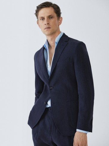 LIMITED EDITION SLIM FIT NAVY LINEN BLAZER
