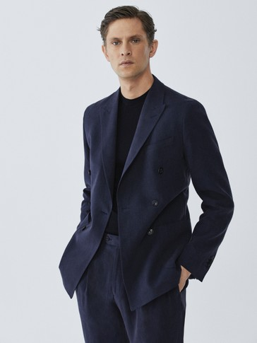 LIMITED EDITION SLIM FIT DOUBLE-BREASTED NAVY LINEN BLAZER