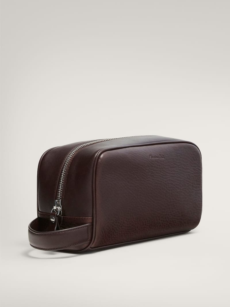 마시모두띠 파우치 Massimo Dutti LEATHER TOILETRY BAG,BROWN
