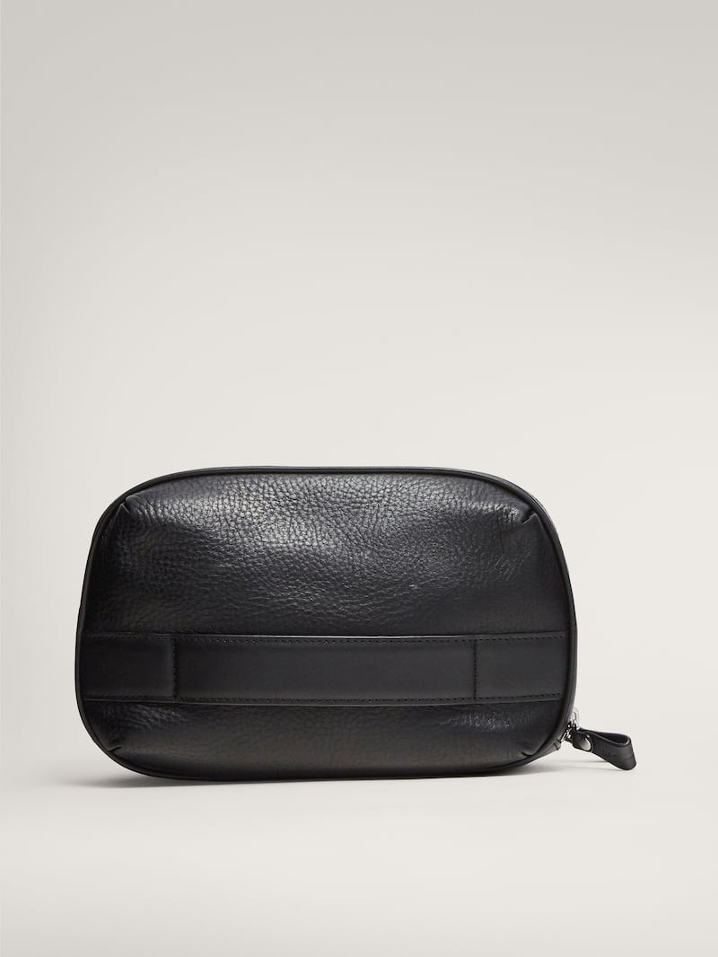 마시모두띠 파우치 Massimo Dutti BLACK MONTANA LEATHER TOILETRY BAG,BLACK