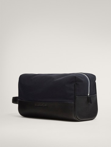 CONTRAST NAVY BLUE LEATHER AND FABRIC TOILETRY BAG