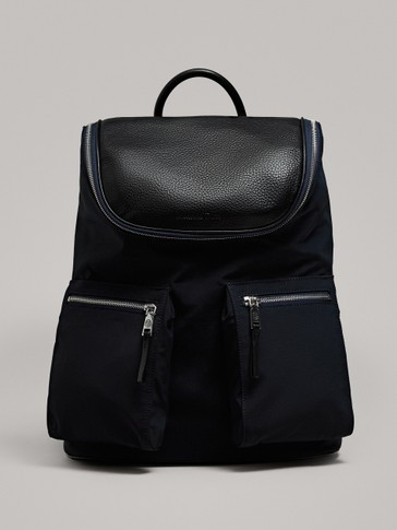 CONTRAST NAVY BLUE LEATHER AND FABRIC BACKPACK