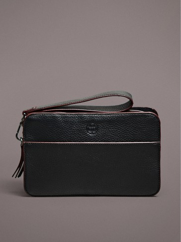 TUMBLED NAPPA LEATHER TOILETRY BAG WITH PIPING DETAIL