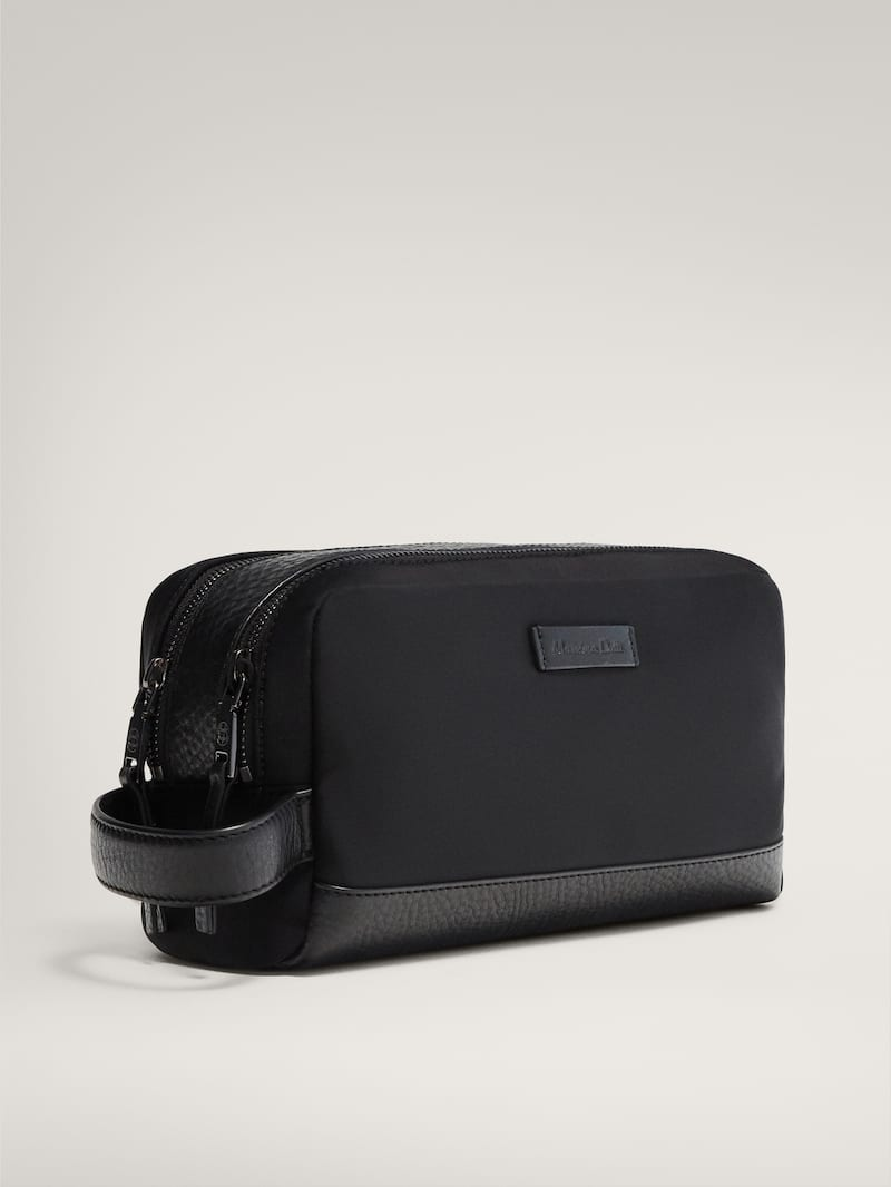 마시모두띠 파우치 Massimo Dutti BLACK LEATHER TOILETRY BAG,BLACK