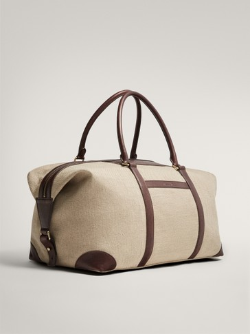 LIMITED EDITION LEATHER AND LINEN CONTRAST WEEKENDER BAG