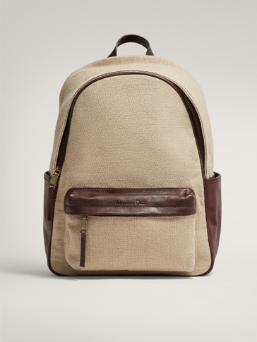 LIMITED EDITION LEATHER AND LINEN CONTRAST BACKPACK