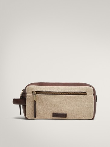 LIMITED EDITION LEATHER AND LINEN CONTRAST TOILETRY BAG
