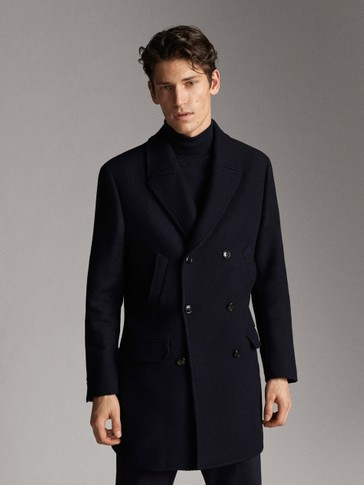 DOUBLE-BREASTED SLIM FIT WOOL TWILL COAT IN NAVY