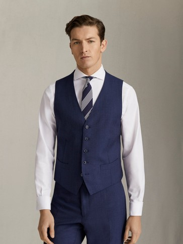 STRAIGHT FIT TEXTURED S.120'S WOOL WAISTCOAT