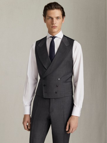 DOUBLE-BREASTED CHECK S.120 WOOL WAISTCOAT