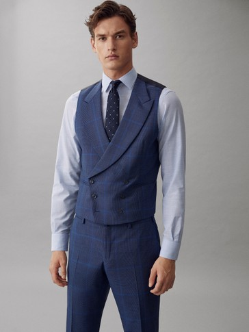 DOUBLE-BREASTED BLUE CHECK S.130'S WOOL WAISTCOAT