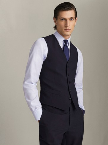 MARINE WOLLEN GILET STRAIGHT FIT