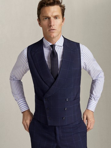 DOUBLE-BREASTED NAVY CHECK 100% WOOL WAISTCOAT