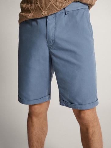COLOURED COTTON BERMUDA SHORTS
