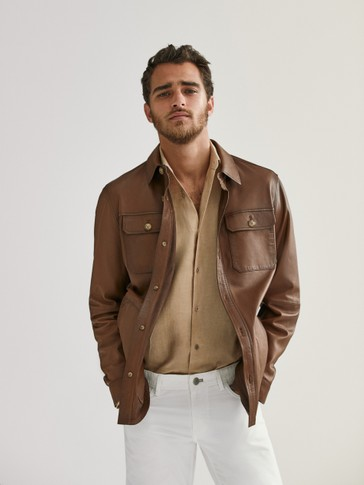Leather overshirt
