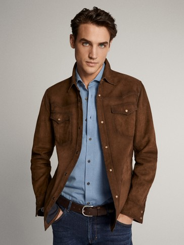 SUEDE OVERSHIRT WITH POCKETS