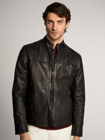 BLACK NAPPA JACKET WITH TOPSTITCHED