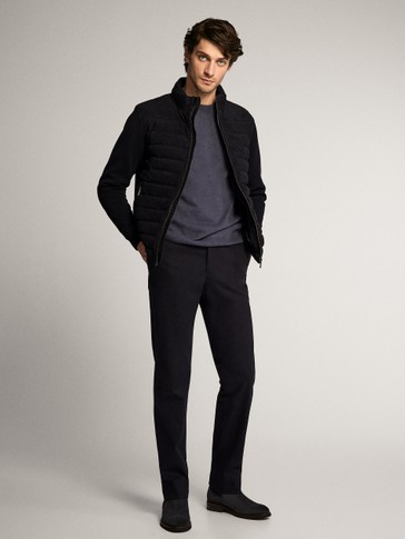 COMBINED NAVY SUEDE KNIT JACKET