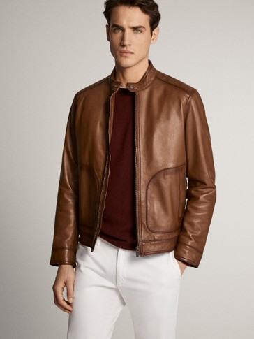 Leather jacket with topstitching