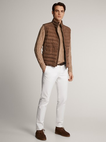 CONTRAST SUEDE AND KNIT GILET