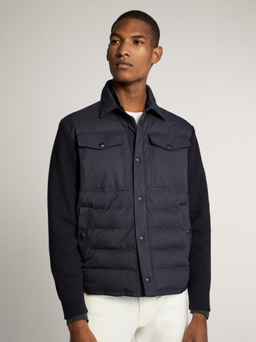 CONTRAST TECHNICAL JACKET WITH NAVY KNIT