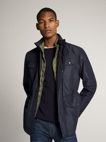 Detachable navy jacket with pockets