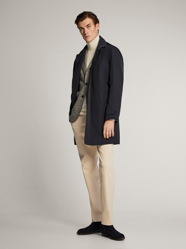 NAVY TRENCH COAT WITH DETACHABLE INTERIOR