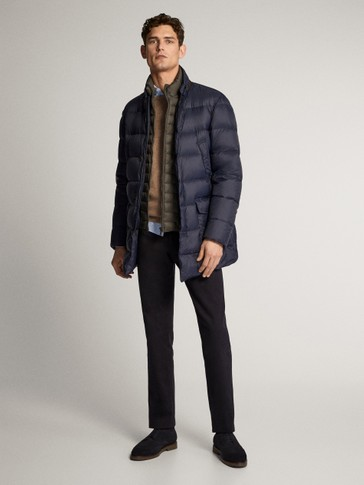 NAVY BLUE FEATHER DOWN JACKET