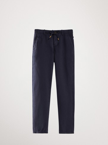 Cotton linen chino trousers