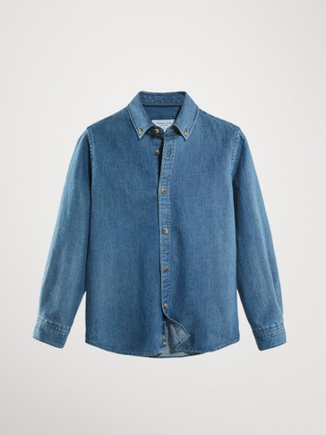 DENIM COTTON AND LINEN SHIRT