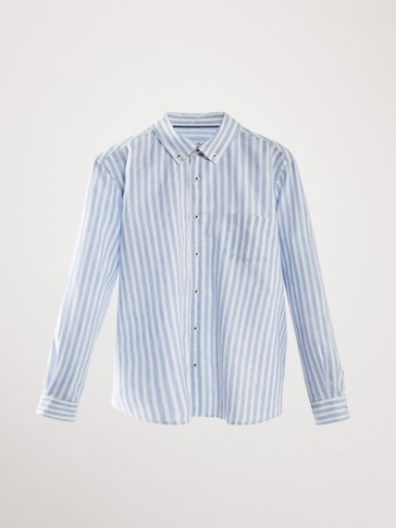 STRIPED LINEN COTTON SHIRT