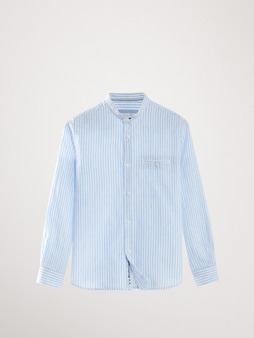 STRIPED COTTON AND LINEN SHIRT WITH STAND-UP COLLAR