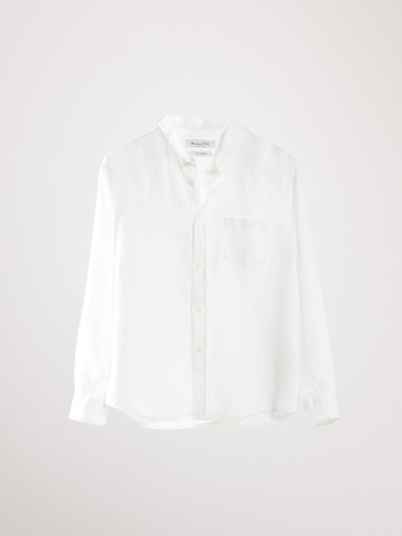 100% LINEN STAND-UP COLLAR SHIRT