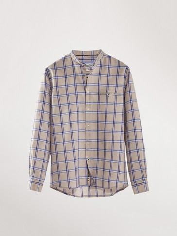 CHECK LINEN COTTON SHIRT WITH STAND-UP COLLAR
