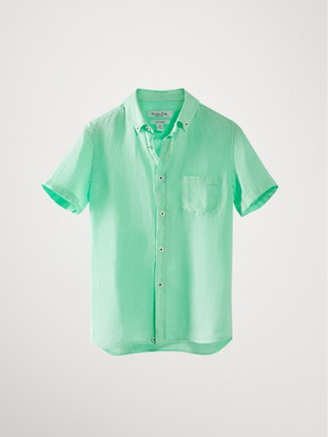 SHORT SLEEVE LINEN SHIRT WITH STAND-UP COLLAR