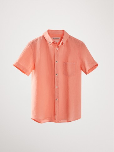 100% linen short sleeve shirt