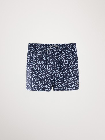 SHARK PRINT SWIMMING TRUNKS