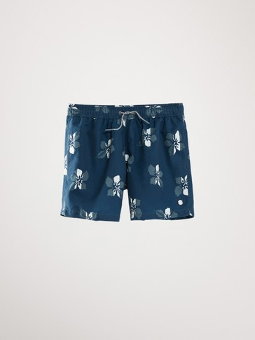 HAWAIIAN PRINT SWIMMING TRUNKS