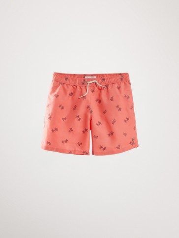TURTLE PRINT SWIMMING TRUNKS