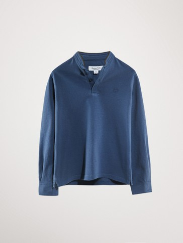 LONG SLEEVE COTTON POLO SHIRT WITH A STAND-UP COLLAR