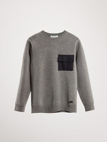 COTTON SWEATER WITH CONTRAST POCKET