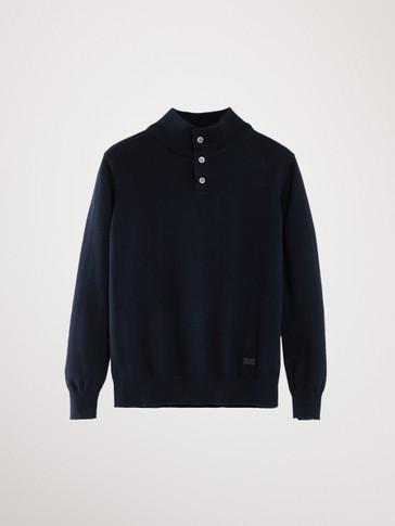 코튼 캐시미어 하이 넥 스웨터