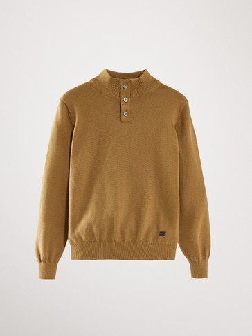 COTTON CASHMERE HIGH NECK SWEATER