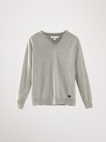COTTON CASHMERE V-NECK SWEATER WITH ELBOW PATCHES