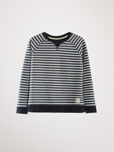 STRIPED NAVY BLUE COTTON SWEATSHIRT