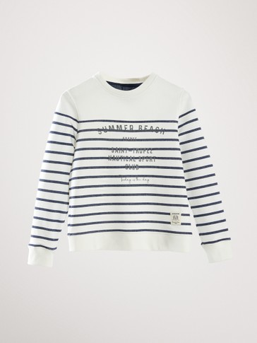 STRIPED COTTON SUMMER BEACH SWEATSHIRT